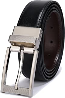 "Belts for Men Reversible Leather 1.25"" Waist Strap Fashion Dress Buckle Beltox"