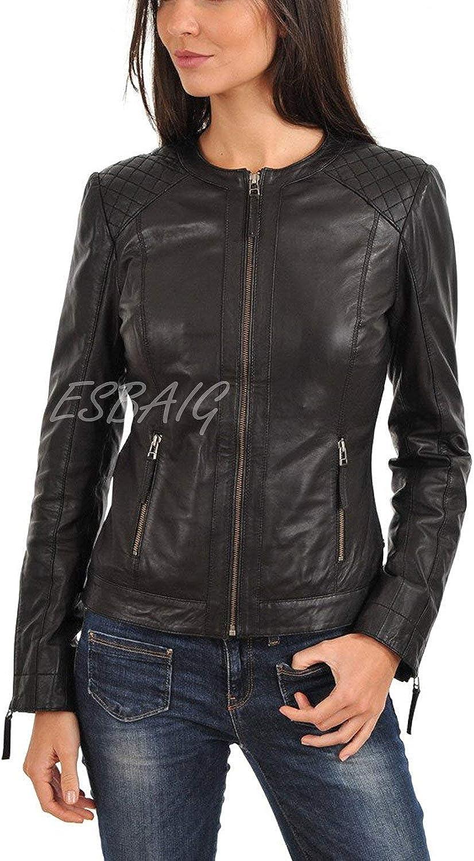 ESBAIG Womens Leather Jackets Stylish Motorcycle Bomber Biker Real Lambskin Leather Jacket for Women 513