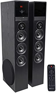 """Rockville TM150B Black Home Theater System Tower Speakers 10"""" Sub/Blueooth/USB"""