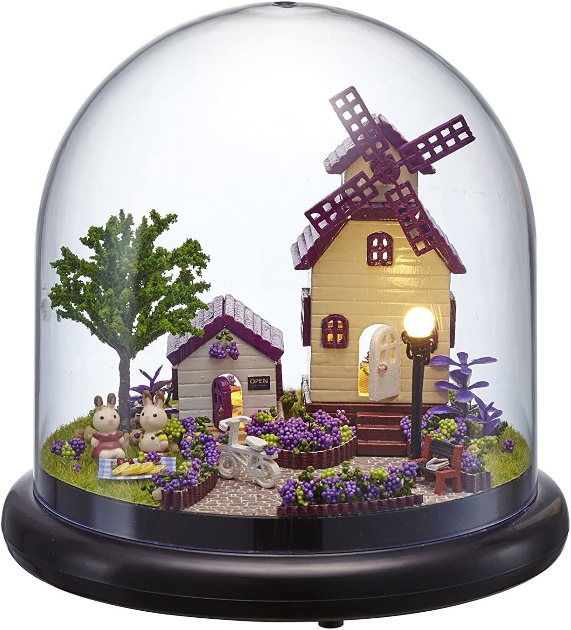 Rylai Architecture Model Building Kits with Furniture LED Music Box Miniature Wooden Dollhouse The Provence Series 3D Puzzle Challenge
