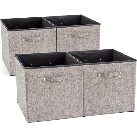 EZOWare Boîte de Rangement Pliable en Tissu avec Poignées, Panier de Rangement, Cube de Rangement pour Tiroir, Placard, Caisse, Casier, Étagère – Lot de 4, Gris, 33x38x33 cm