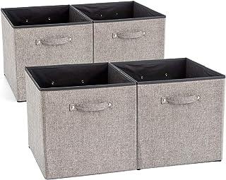 EZOWare Boîte de Rangement Pliable en Tissu avec Poignées, Panier de Rangement, Cube de Rangement pour Tiroir, Placard, Ca...