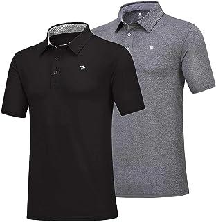 Sponsored Ad - Rdruko Men's Polo Golf Shirts Quick Dry Moisture Wicking Running Training Casual T-Shirts 2 Pack