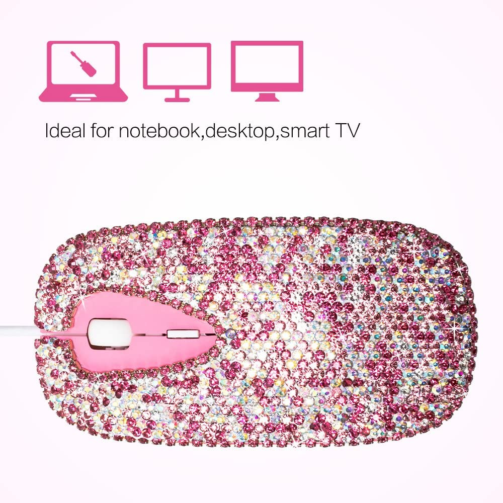 White Desktop and Laptop Computer Mouse with 3 Adjustable DPI Level BlingChic Handmade Bling Crystal Wired USB Optical Mouse 3 Buttons Compatible with PC Mac