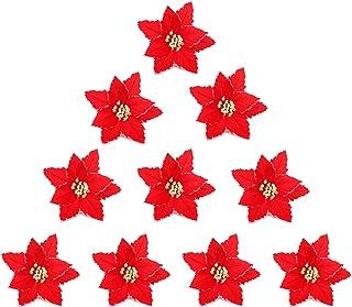 SLDHFE Lot de 10 poinsettia artificielles de Noël - 20 cm - Poinsettia rouges - Pour décoration de Noël ou de mariage