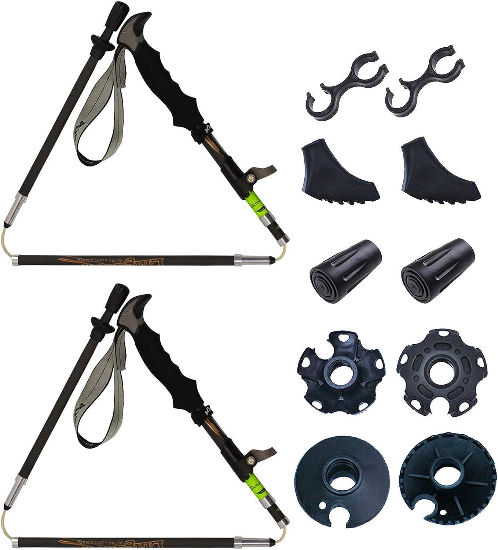 Kaimei Trekking Poles Carbon Fiber Quick Locks EVA Grips Ultralight Adjustable Hiker Folding Collapsible with All Terrain Accessories 1 Pair