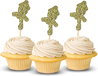 Ginger Bread Man Xmas Tree Merry Xmas Cupcake Topper Cardestock Color Gold 12 pieces per Pack