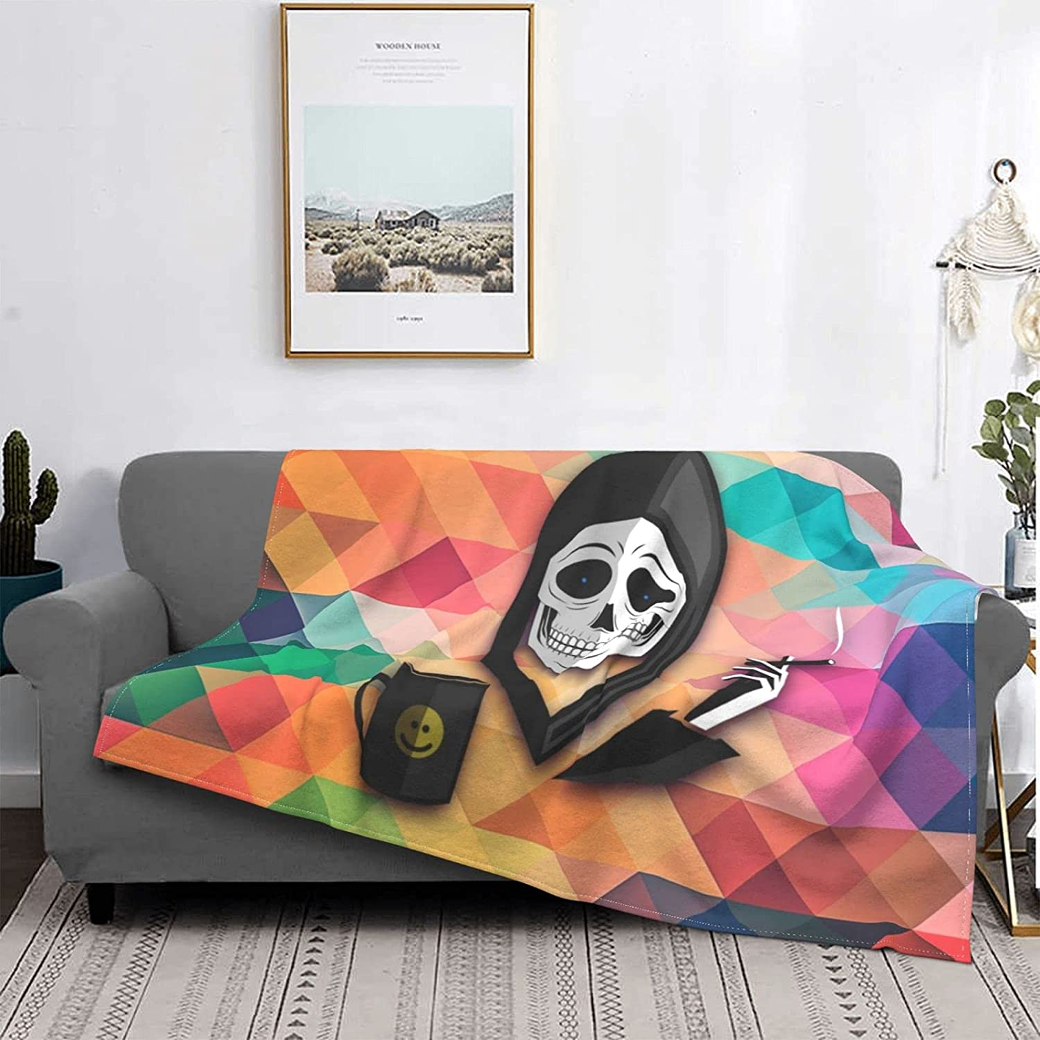 Olanustu Superior Colorful Death Outdoor Flannel Max 49% OFF Blanket Camping
