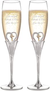 Things Remembered Personalized Heart and Cross Toasting Flute Set with Engraving Included