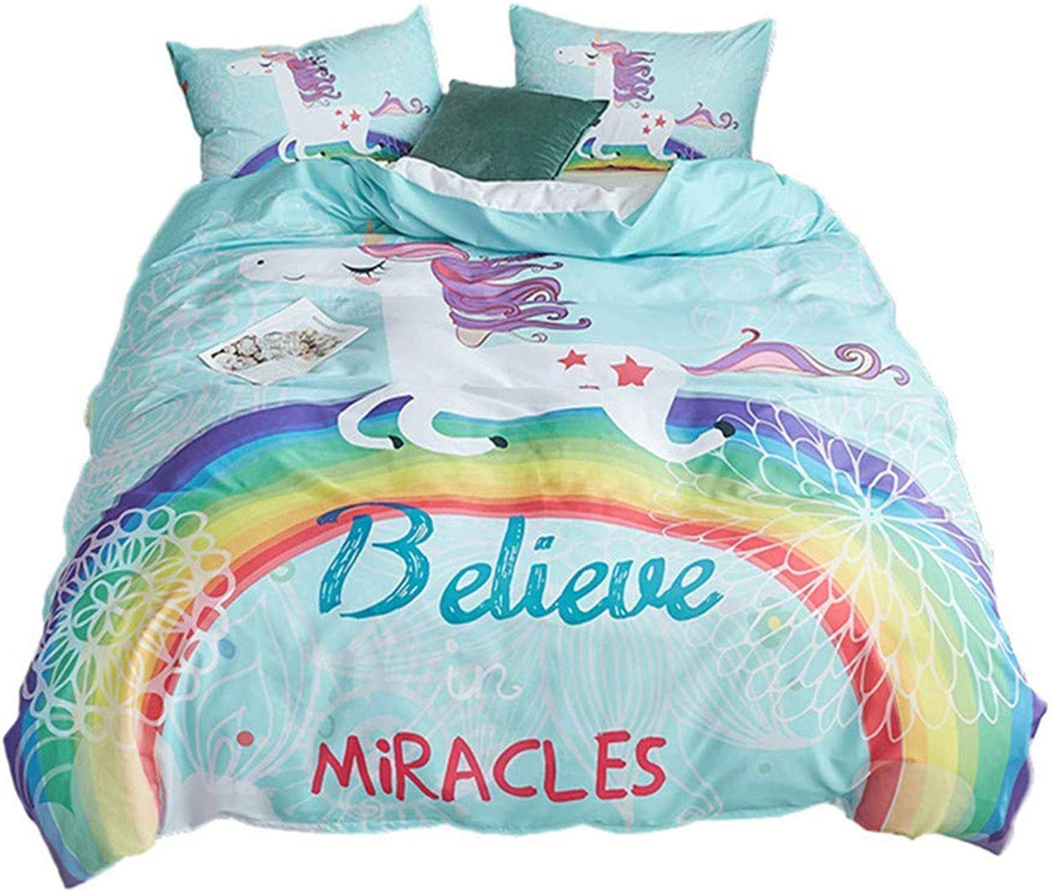ADASMILE A & S Unicorn Bedding King for Girls Women Rainbow Duvet Cover and Pillowcase Set Wrinkle Resistant, King Size