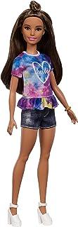 comprar comparacion Barbie Fashionista - Muñeca morena con moño y shorts tejanos (Mattel FYB31)