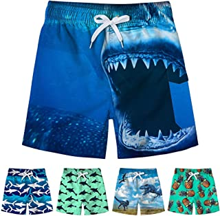 Kids Boys Funny Short Swim Trunks with Mesh Lining Waterproof Board Shorts 3D Printed Beach Shorts 4-12T