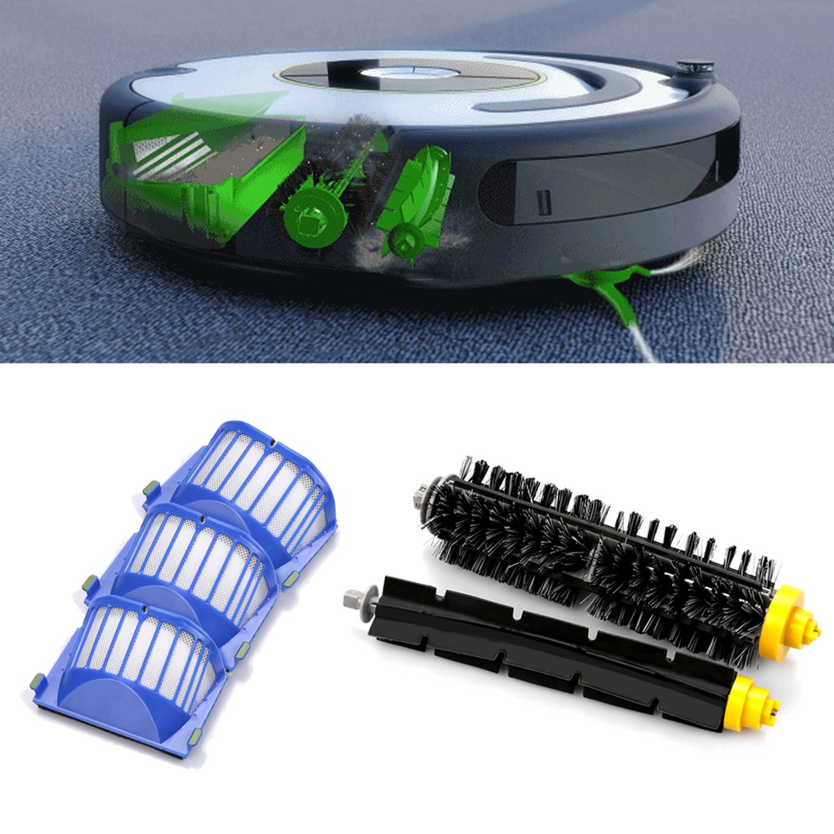 ENERGUP Repuesto de cepillos para IRobot Roomba 600 605 Series 610 ...