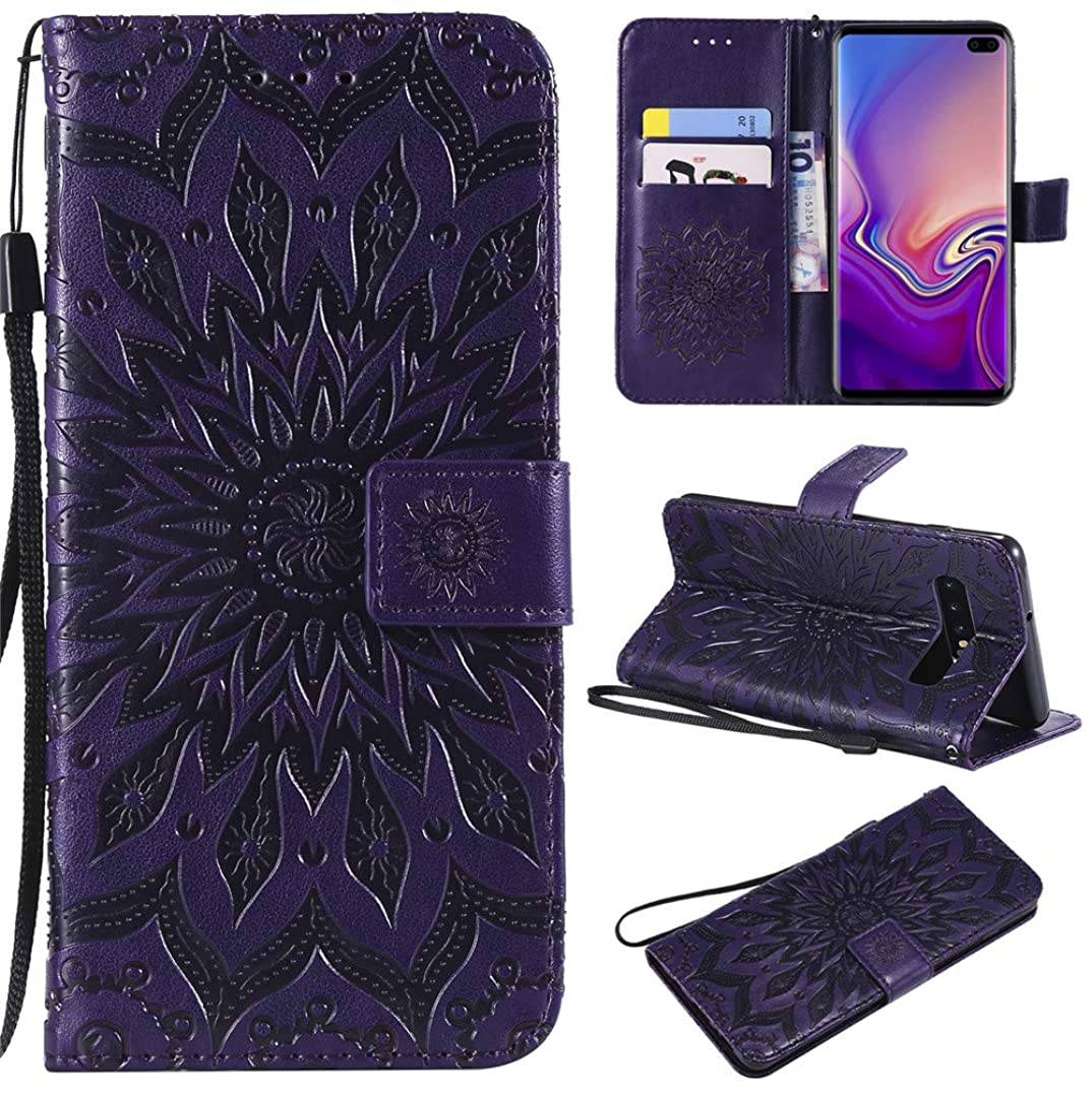 Samsung Galaxy S10 Plus Wallet Case,MEUPZZK Sunflower with Shockproof Kickstand Credit Card Holder Flip Magnetic Closure Protection Wallet Leather PU Cover for Samsung Galaxy S10 Plus (Purple)