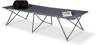 Relaxdays Cama Plegable Camping XXL Extra Alta Capacidad hasta 120 kg, Altura, Ancho, Longitud: 50 x 80 x 215 cm, Bolsa de Transporte, Color Gris