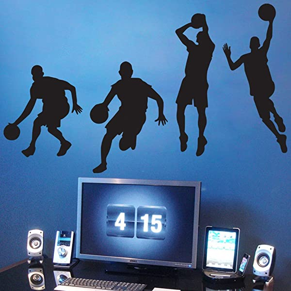Inspiration Wall Stickers Basketball Removable Wall Decor Decals Sport Style For Kids Boys Nursery Living Room Bedroom School Office 20 9 X 47 2 Inch