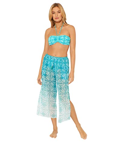 Bleu Rod Beattie Make Waves Side Slit Pants Cover-Up (Laguna Teal) Women