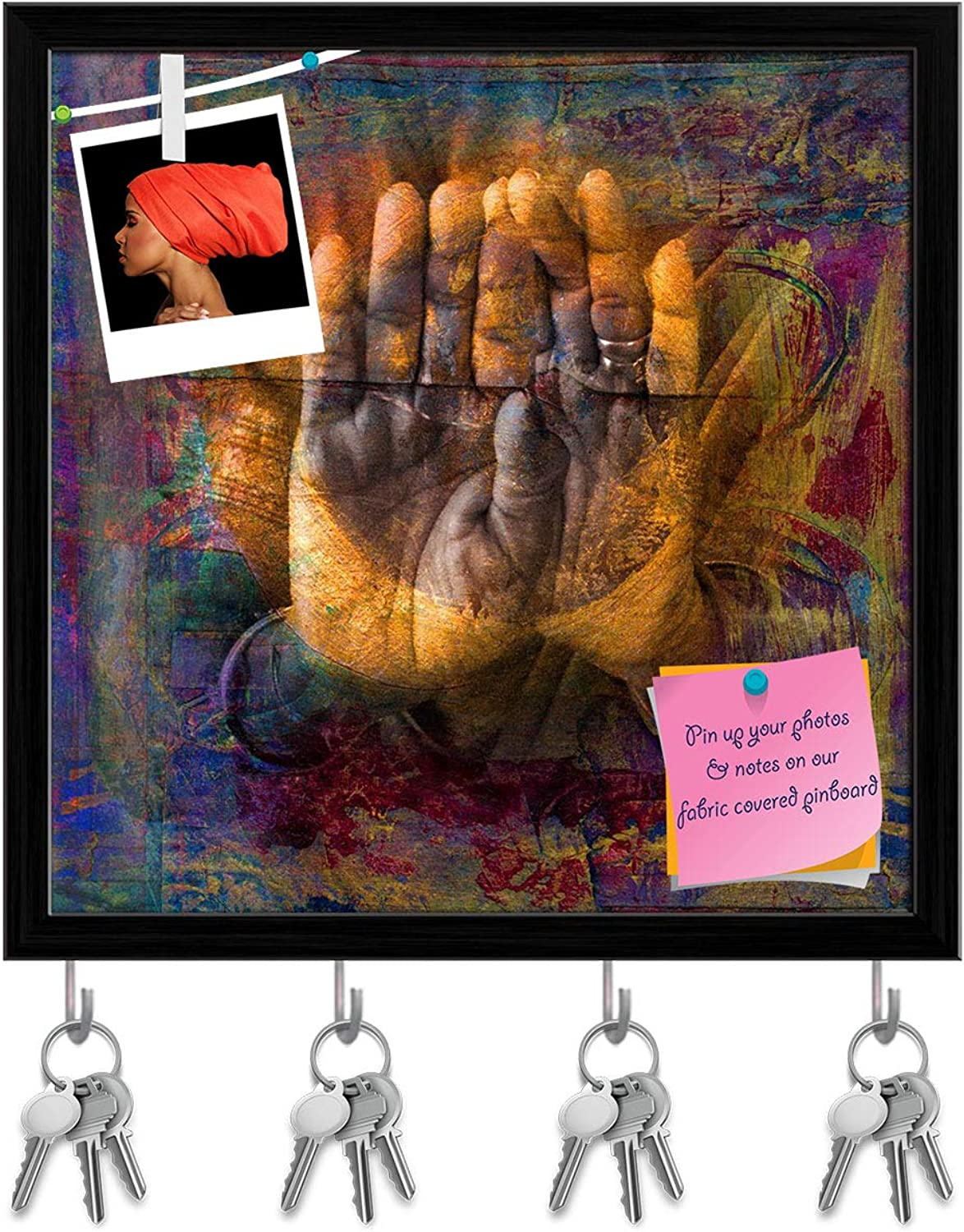 Artzfolio Gilded Hands in Open Palm Mudra Key Holder Hooks   Notice Pin Board   Black Frame 20 X 20Inch