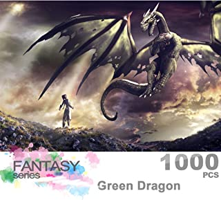 Ingooood- Jigsaw Puzzle 1000 Pieces for Adult- Fantasy Series- Dragon Series Puzzles Entertainment Wooden Puzzles Toys (Green Dragon)