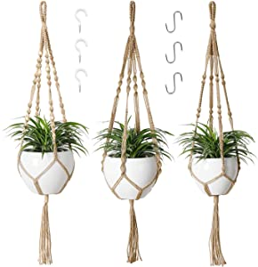 POTEY 610305 Macrame Plant Hanger - 3 Pack Plant Hangers with 6 Hooks, Different Designs Handmade Jute Hanging Plant Holder with Wood Beads for Boho Home Decor ,4 Legs,40 inch