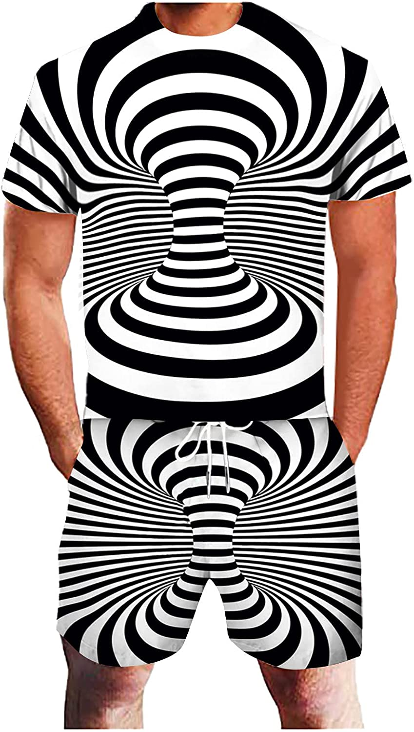 FUNEY Men's Summer Sports Suit Tracksuits for Men 2 Piece 3D Geometric Abstract Printed T-Shirt and Shorts Set Sweatsuits