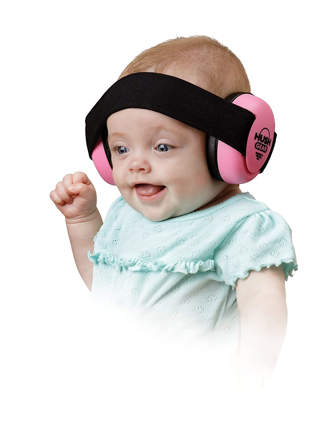 Hush Gear Baby Noise Cancelling Headphones for Babies Infant Ear Protection - 28.6db Sound Reduction Baby Ear Protection Ear Muffs - Adjustable Elastic Headband for Secure Comfortable Fit, Pink