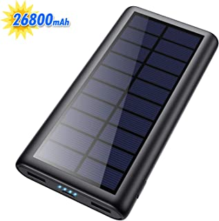 $21 » Solar Charger 26800mAh Portable Solar Power Bank with 4 LEDs and 2 USB Output Ports External Battery Pack for Outdoor Camping for Smartphone, Andriod Phone and Teblet