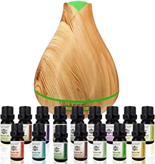 Enava Aromatherapy Diffuser & Essential Oils Humidifier Set - Ultrasonic Extreme Cool Mist Output - 350ml Top 16 Oils Auto Shut-Off 7 color LED – Pure Therapeutic Grade Aroma Essential Oil - Lavender