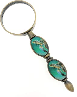 Value Arts Nautical Sea Turtle Magnifying Glass, Brass and Glass, 6 Inches Long