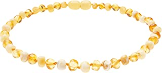 Genuine Amber Necklace From Baltic Sea made with Polished Honey and Polished Milky 19.7 Inches (Adult)