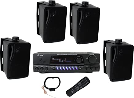 """$124 Get 4) Pyle PLMR24B 3.5"""" 200W Box Speakers + PT260A Home Digital Stereo Receiver"""