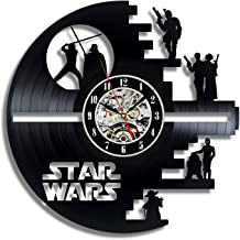 Meet Beauty Ding Vinyl Star Wars Death Star diseñado Reloj de Pared LP Record -Decorate tu hogar con Moderno Grande Darth Vader Classic Vintage Art 30CM Círculo Negro