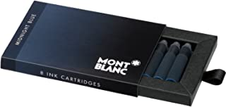 Montblanc Ink Cartridges Midnight Blue 105195 – Short International Standard Fountain Pen Refills in Blue-Black – 8 Pen Cartridges