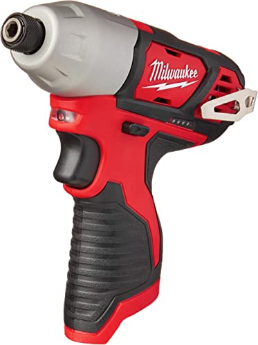 MILWAUKEE'S 2462-20 M12 1/4 Inch Hex Shank 12 Volt Lithium Ion Cordless 2,500 RPM 1,000 Inch Pounds Impact Driver w/ ...