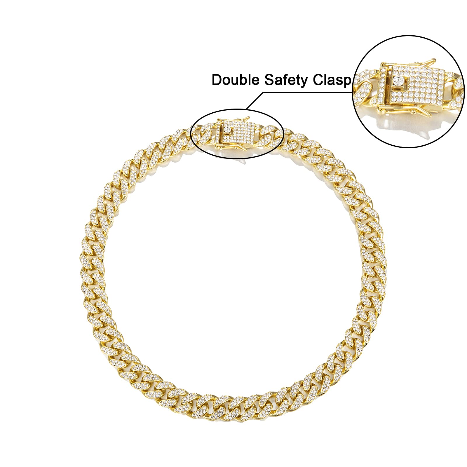 Mens Cuban Link Chain Gold Silver Bling Miami Cuban Necklace Diamond Chain for Men Iced Out Hip Hop Jewelry