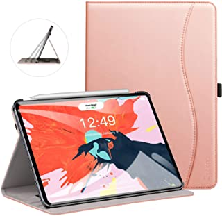Ztotop Case for iPad Pro 11 Inch 2018 Release, Premium Leather Business Slim Multi-Angle Viewing Folding Stand Cover with Auto Wake/Sleep (Support 2nd Gen Apple Pencil Wireless Charging),Rose Gold
