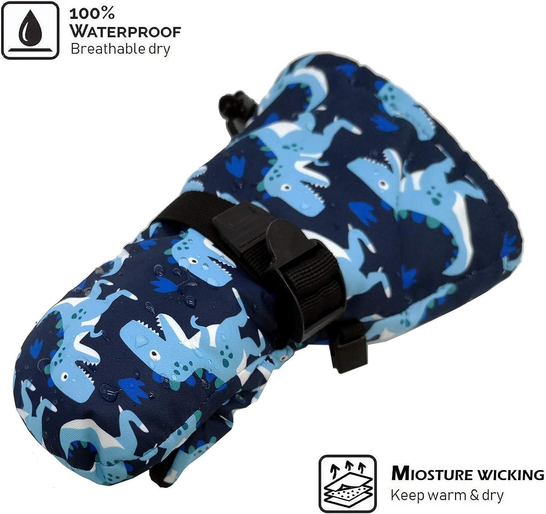 HIGHCAMP Kids Winter Snow Mittens Waterproof Warm Gauntlet for Cold Weather
