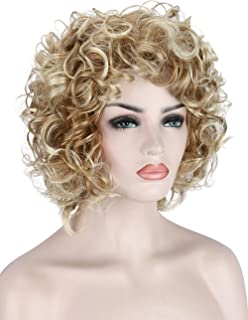 Kalyss Short Curly Wavy Blonde Wigs for Women Heat Resistant Synthetic Full Head Hair Costume Wig Natural Looking 130% Density Hairpiece