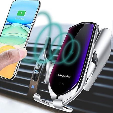 Silber Automatische Klemmung Smart Ir Sensor Car Mount Wireless Ladeger/äT Halter Drahtloses Schnellladeger/äT Eariy Infrarotsensor Auto Drahtloses Laden Kompatibel Mit Iphone Samsung