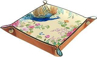 Vockgeng Fleurs de Paon Boîte de Rangement Panier Organisateur de Bureau Plateau décoratif approprié pour Bureau à Domicil...