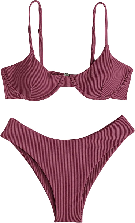 SOLY HUX Women's Sexy Bathing Suits Spaghetti Strap Bikini Set Two Piece Swimsuits