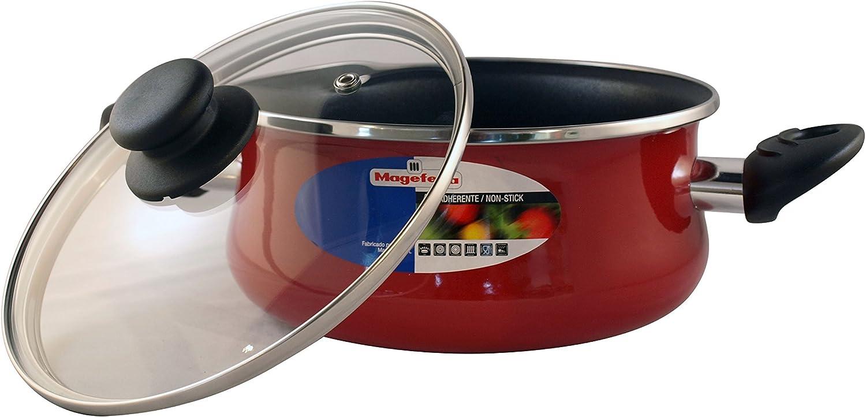 Magefesa PRAGA cacerola 24 con tapa, acero esmaltado vitrificado, en granate, inducción y lavavajillas