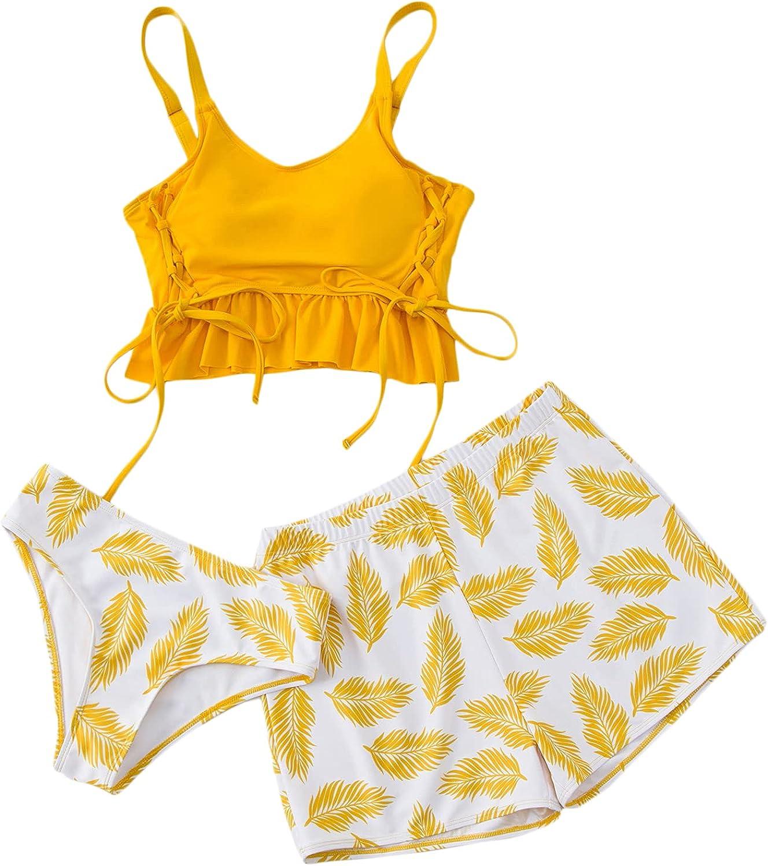 Romwe Women's 3 Pack Tankini Swimsuit Crop Tank Top Bikini Set with Board Shorts
