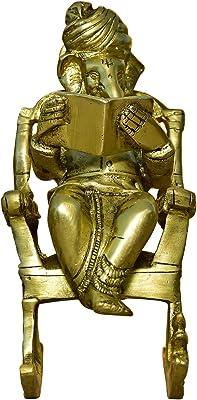 999Store Brass Idol Ganesha Sitting on Chair Figurine (Brass_7.5 x 3.5 Inch _Golden_ 1.72 kg ) Brass001