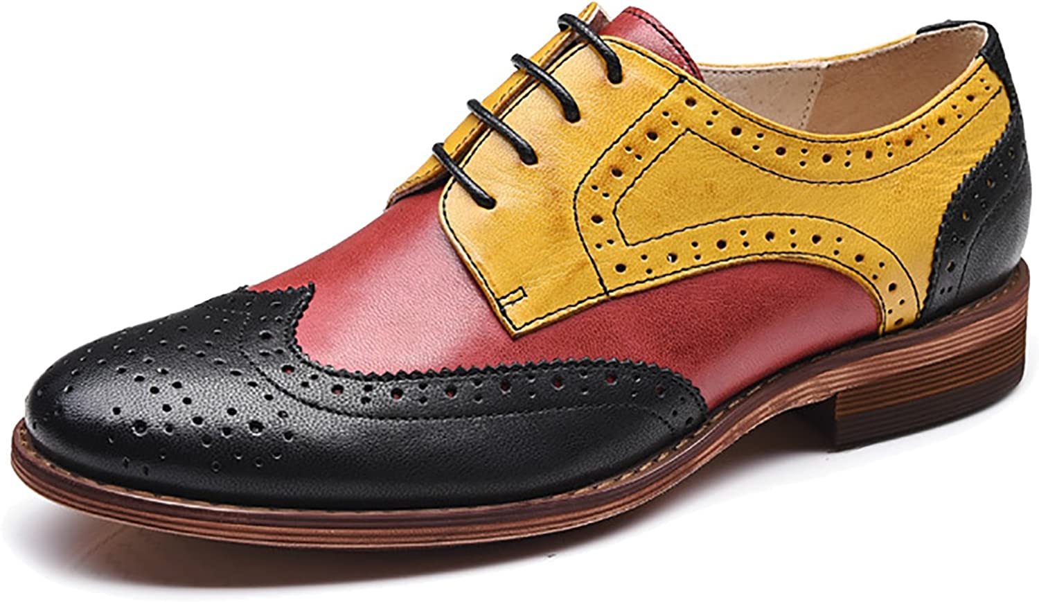 Odema Women's Leather Oxfords Perforated Lace-up Wingtip Low Heel Carving Brogue Dress shoes Oxfords