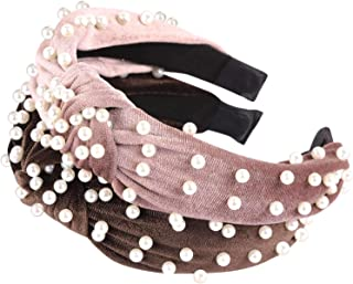 Top Knot Headbands Pearl Padded headband for Women and Girls Wide Twisted Hair Hoop Velvet 2 Pcs