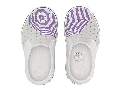 Native Kids Shoes Miles Print (Toddler/Little Kid) (Shell White/Shell White/Mist Grey/Techno Umbrella) Girls Shoes
