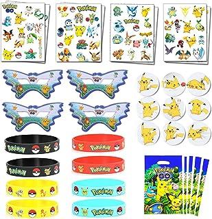Pokemon-thema Verjaardagsfeestje voor kinderen - Polsbandjes, tatoeages, cadeautjes voor cadeautjes, insignes, maskers voo...
