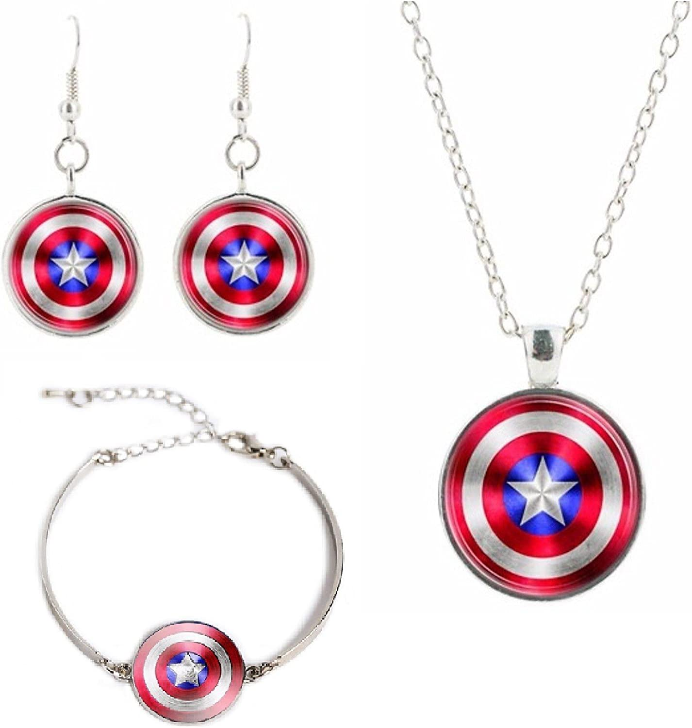 New Horizons Production Captain America Logo Glass Domed Pendant Necklace, Earring, Braclet Jewelry Set