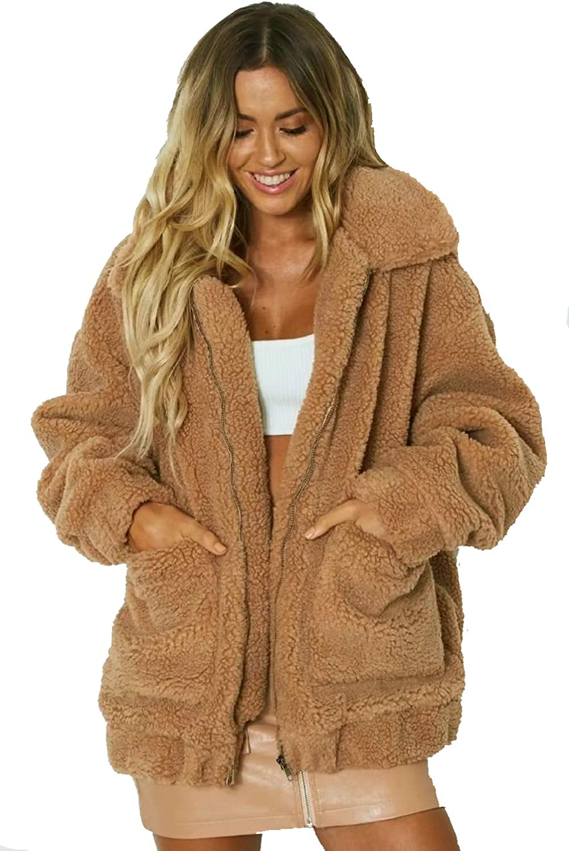 kooosin Fluffy Women Coats Faux Wool Blend Warm Winter Jacket Zip Up Long Sleeve Oversized Fashion Outerwear